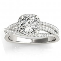Diamond Halo Triple Row Twist Engagement Ring 18K White Gold (0.36ct)