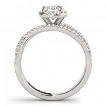 Diamond Halo Triple Row Twist Engagement Ring 18K White Gold (0.36ct)