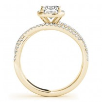Diamond Halo Triple Row Twist Engagement Ring 18K Yellow Gold (0.36ct)