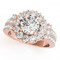 Diamond Halo Antique Style Engagement Ring 18k Rose Gold (2.04ct)