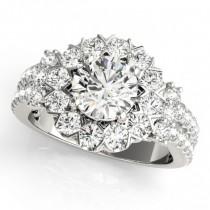 Diamond Halo Antique Style Engagement Ring 18k White Gold (2.04ct)