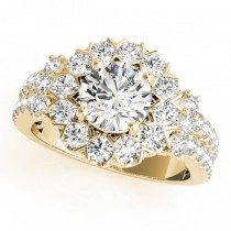 Diamond Halo Antique Style Engagement Ring 18k Yellow Gold (2.04ct)
