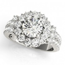 Diamond Halo Antique Style Engagement Ring Platinum (2.04ct)