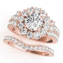 Diamond Halo Antique Style Bridal Set 14k Rose Gold (2.36ct)