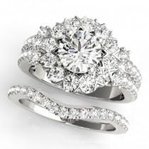 Diamond Halo Antique Style Bridal Set 14k White Gold (2.36ct)