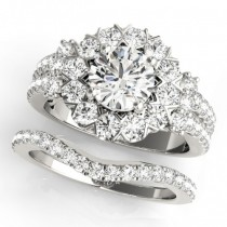 Diamond Halo Antique Style Bridal Set 18k White Gold (2.36ct)