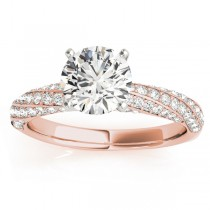 Diamond Twisted Pave Three-Row Engagement Ring 14k Rose Gold (0.52ct)