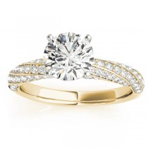 Diamond Twisted Pave Three-Row Engagement Ring 18k Yellow Gold (0.52ct)