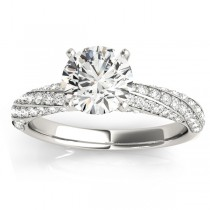 Diamond Twisted Pave Three-Row Engagement Ring Palladium (0.52ct)