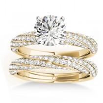 Diamond Twisted Pave Three-Row Bridal Set 14k Yellow Gold (1.11ct)