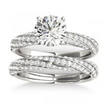 Diamond Twisted Pave Three-Row Bridal Set Palladium (1.11ct)