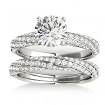 Diamond Twisted Pave Three-Row Bridal Set Platinum (1.11ct)