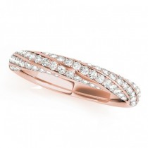 Three-Row Diamond Twisted Wedding Band 18k Rose Gold (0.59ct)