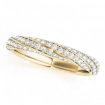 Three-Row Diamond Twisted Wedding Band 18k Yellow Gold (0.59ct)