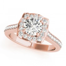 Diamond Halo Floral Engagement Ring 14k Rose Gold (1.32ct)