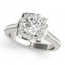 Diamond Halo Floral Engagement Ring 14k White Gold (1.32ct)