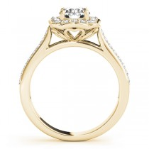 Diamond Halo Floral Engagement Ring 14k Yellow Gold (1.32ct)