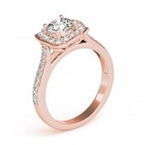 Diamond Halo Floral Engagement Ring 18k Rose Gold (1.32ct)