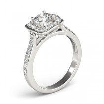 Diamond Halo Floral Engagement Ring 18k White Gold (1.32ct)