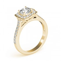 Diamond Halo Floral Engagement Ring 18k Yellow Gold (1.32ct)