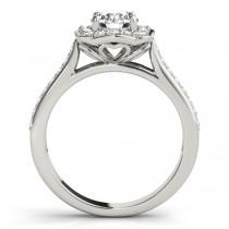 Diamond Halo Floral Engagement Ring Palladium (1.32ct)