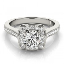 Diamond Halo Floral Engagement Ring Platinum (1.32ct)