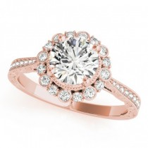 Diamond Flower Halo Vintage Engagement Ring 14k Rose Gold (1.11ct)