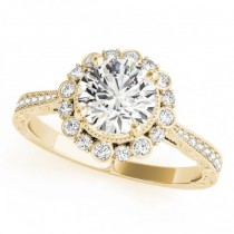 Diamond Flower Halo Vintage Engagement Ring 18k Yellow Gold (1.11ct)