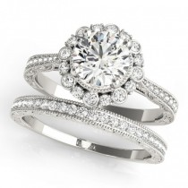Diamond Flower Bezel Halo Vintage Bridal Set Palladium (1.21ct)
