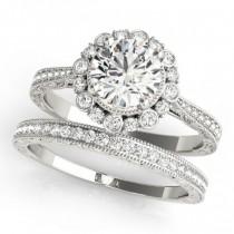 Diamond Flower Bezel Halo Vintage Bridal Set Platinum (1.21ct)