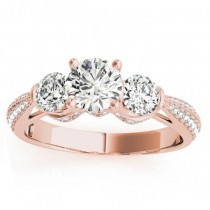 Diamond 3 Stone Engagement Ring Setting 14k Rose Gold (0.66ct)
