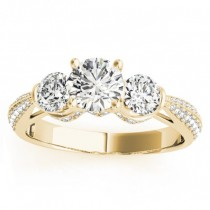 Diamond 3 Stone Engagement Ring Setting 14k Yellow Gold (0.66ct)
