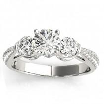 Diamond 3 Stone Engagement Ring Setting 18k White Gold (0.66ct)