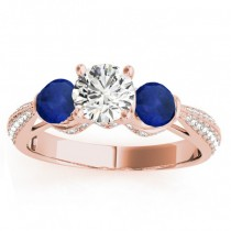 Diamond & Blue Sapphire Engagement Ring Setting 14k Rose Gold (0.66ct)