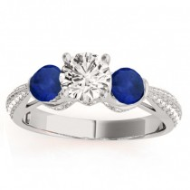 Diamond & Blue Sapphire Engagement Ring Setting 14k White Gold (0.66ct)
