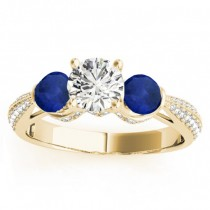 Diamond & Blue Sapphire Engagement Ring Setting 14k Yellow Gold (0.66ct)