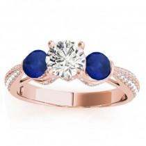 Diamond & Blue Sapphire Engagement Ring Setting 18k Rose Gold (0.66ct)
