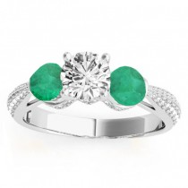 Diamond & Emerald 3 Stone Engagement Ring Setting 14k White Gold (0.66ct)