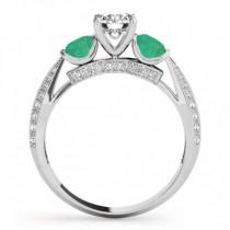 Diamond & Emerald 3 Stone Engagement Ring Setting 14k White Gold (0.66ct)