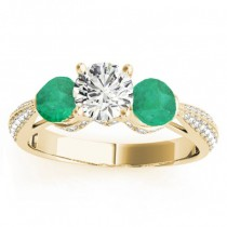 Diamond & Emerald 3 Stone Engagement Ring Setting 18k Yellow Gold (0.66ct)