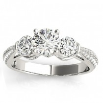 Diamond 3 Stone Engagement Ring Setting Palladium (0.66ct)