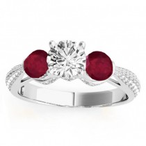 Diamond & Ruby 3 Stone Engagement Ring Setting 14k White Gold (0.66ct)