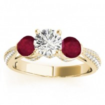 Diamond & Ruby 3 Stone Engagement Ring Setting 14k Yellow Gold (0.66ct)