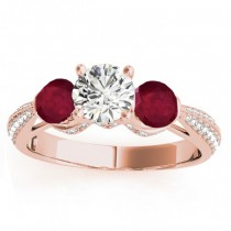 Diamond & Ruby 3 Stone Engagement Ring Setting 18k Rose Gold (0.66ct)