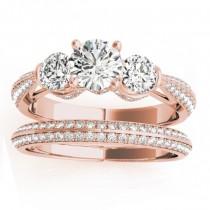 Diamond 3 Stone Engagement Ring Setting 14k Rose Gold (1.04ct)