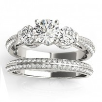 Diamond 3 Stone Bridal Set Setting 14k White Gold (1.04ct)