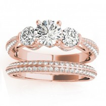 Diamond 3 Stone Engagement Ring Setting 18k Rose Gold (1.04ct)
