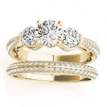 Diamond 3 Stone Engagement Ring Setting 18k Yellow Gold (1.04ct)