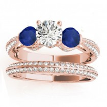 Diamond & Blue Sapphire Bridal Set Setting 14k Rose Gold (1.04ct)