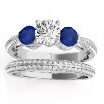 Diamond & Blue Sapphire Bridal Set Setting 18k White Gold (1.04ct)